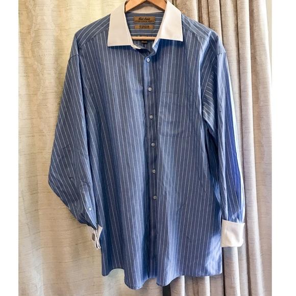 8a630dfaa Roundtree & Yorke men pinstripe French cuff shirt